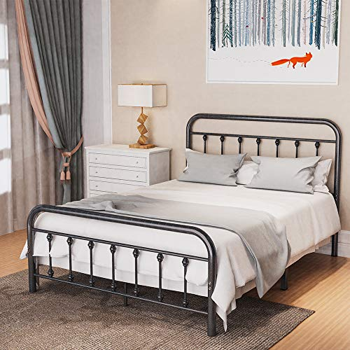 Noillats Metal Bed Frame Full Size with Vintage Headboard and Footboard, Premium Stable Steel Slat Support Mattress…