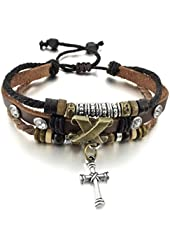 Men,Women's Alloy Genuine Leather Bracelet Bangle Rope Cross Surfer Wrap Tribal Adjustable Fit 7~9 inch