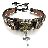 INBLUE Men,Women's Alloy Genuine Leather Bracelet Bangle Rope Cross Surfer Wrap Tribal Adjustable