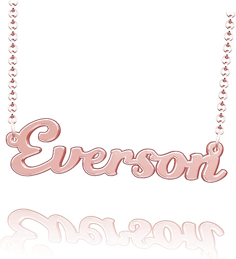 LoEnMe Jewelry Customized Everson Name Necklace Sterling Silver Plated Custom Made of Last Name Gift for Family