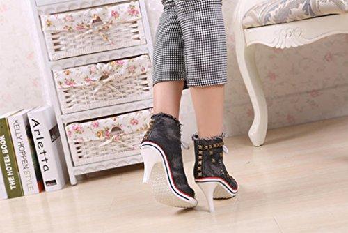 Scarpe Da Jiye Da Donna Con Tacco Alto, Scarpe Con La Pompa Sneaker D-black