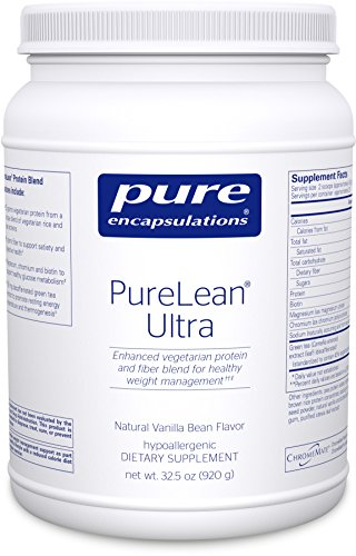 Pure Encapsulations - PureLean Ultra - Vegetarian Pea Protein and Fiber Blend with Green Tea and Stevia for Weight Management - Natural Vanilla Bean Flavor - 32.5 oz (920 grams) - Clearly Fiber Powder