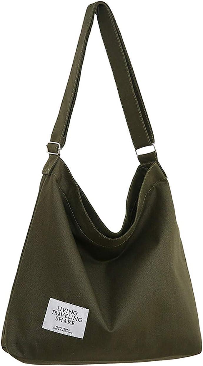 Amazon.com: Covelin Women's Retro Large Size Canvas Shoulder Bag Hobo  Crossbody Handbag Casual Tote Army Green: Shoes