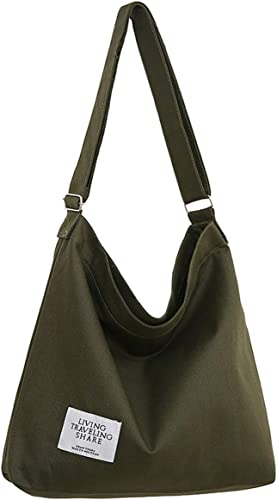 Green Canvas Brown Genuine Leather Tote Bag with Clutch Bag Women Trendy Handbag
