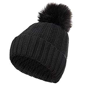 GLOUE Women's Winter Beanie Warm Fleece Lining - Thick Slouchy Cable Knit Skull Hat Ski Cap (Black)