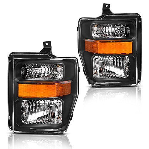 For 2008 2009 2010 Ford F250 F350 F450 Super duty Headlight Assembly,OE Projector Headlamp,Black housing,One-Year Limited ()