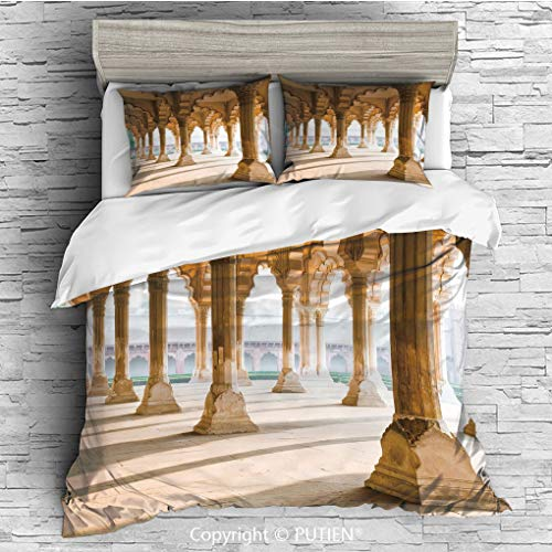KING Size Cute 3 Piece Duvet Cover Sets Bedding Set Collection [ Pillar,Historical Theme Gallery of Pillars at Agra Fort Ethnic Digital Image Decorative,Light Coffee and Beige ] Comforter Cover Set fo