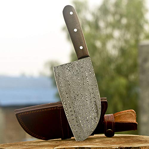 Handmade Damascus Steel Kitchen Chef Cleaver Chopper Knife Micarta Handle 11 Inches VKY0224 (Knives Kitchen Handmade)