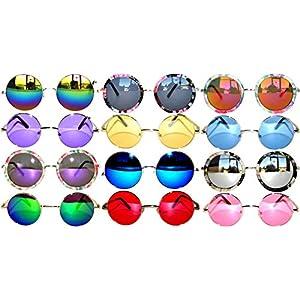 Retro Round Circle Colored Vintage Tint Sunglasses Metal Frame Spring hinge OWL (12p_Mix_43mm_56mm_60mm, PC Lens)
