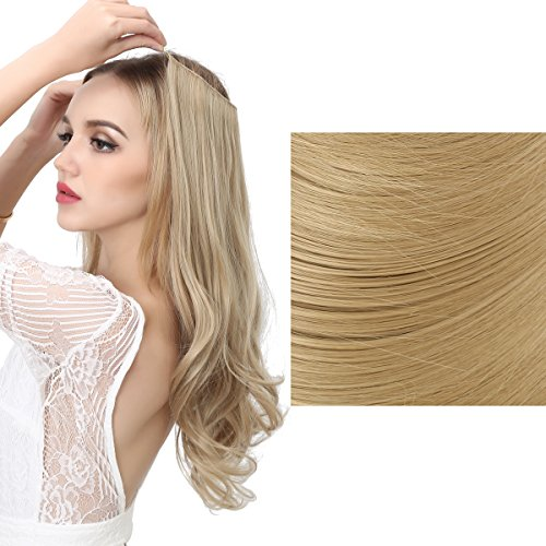SARLA Halo Synthetic Hair Extension Flip In Hairpieces Curly Wavy Hidden Halo Hair Extensions M01 (#25 Light Sandy Blonde)