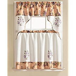 RT Designers Collection Urban Embroidered Tier and Valance Kitchen Curtain Set, Grape