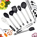 Kitchen Utensil 8 Set - Black Cooking Kit Manufactured with Metal Heavy Duty Stainless Steel and No Plastic BPA Free High Heat Resistant Silicone - Dishwasher Safe Utensils with Waterproof Handles