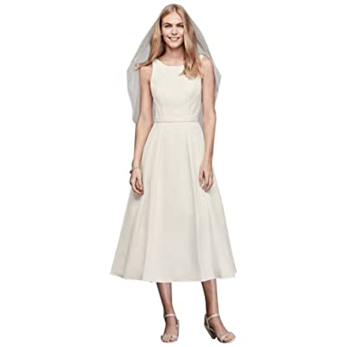0b08ea235966 David's Bridal Faille Tea-Length A-Line Dress with Pockets Style SDWG2825  at Amazon Women's Clothing store: