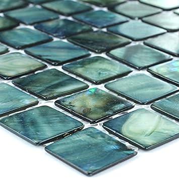 Mosaikfliesen grün  Glas Mosaik Fliesen Perlmutt Effekt Grün 25x25x2mm: Amazon.de ...
