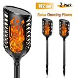 Areskey Solar Torch Lights - Outdoor Waterproof 102 LEDs Flickering Flame Lamp Dusk to Dawn Dancing Flame Tiki Torches Landscape Decoration for Garden Lawn Yard Patio Deck (2 Pack)