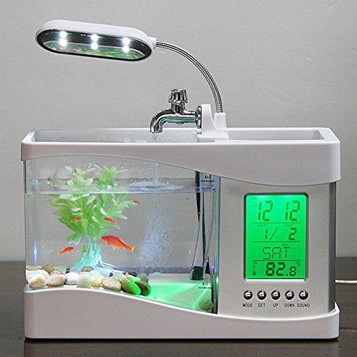 ETbotu Usb Mini Fish Tank,tanque de peces, acuario ,Water Running LED Pump Light Calendar Clock Electronic Aquarium by ETbotu
