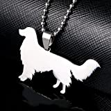 Stainless Steel Nova Scotia Duck Tolling Retriever Dog Silhouette Pet Dog Tag Breed Collar Charm Pendant Necklace