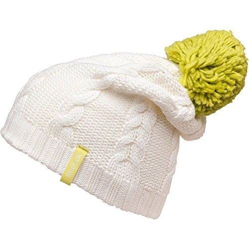 Reebok Womens Cable Knit Cotton Bobble Beanie Hat - White/Green - One Size Reebok Bb