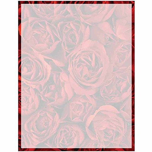 (Full Red Roses Print with Border Stationery Letter Paper - Floral Flower Theme Design - Gift - Business - Office - Party - School Supplies)
