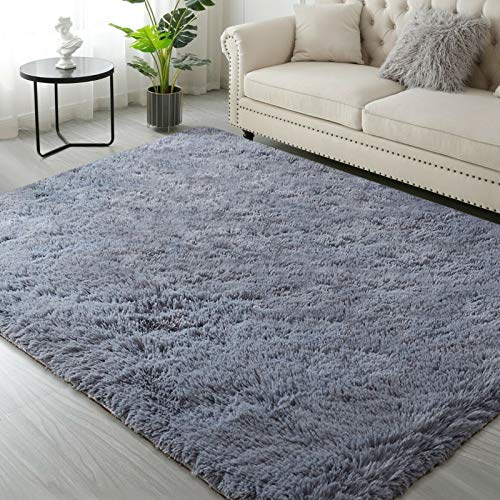 Area Rug, Modern Carpet 3x5 Area Rug, Fluffy Faux Fur Rug Grey Non Slip Fuzzy Rug, Soft Shaggy Plush Area Rugs Nursery Rug for Living Room Bedroom Floor Room Home Decor Kids Boys Girls Mats