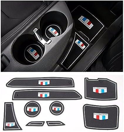 White Fluorescence FMtoppeak 3 Colors 9pcs Door Groove Mat Interior Accessories Parts Silica Gel for Chevrolet Camaro 2016 up