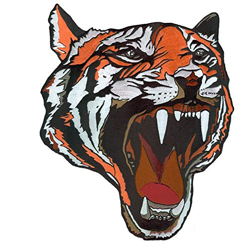 VEGASBEE Large Tiger Head Premium Fashion Design Embroidered Iron-ON Patch Jacket Emblem 12