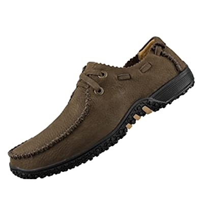 Pik  Clubs Leder Herren Fashion Casual Mokka Bean Sohle flach Walking Schuhe  Kaffee