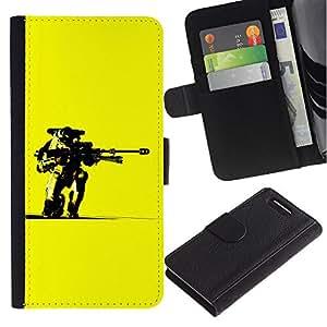 KingStore / Leather Etui en cuir / Sony Xperia Z3 Compact / Amarillo Robot Pistola Arte Guerrero Futurismo Ai