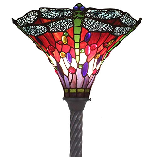 Bieye L11405 Dragonfly Tiffany Style Stained Glass Floor Torchiere Lamp with 15 Inch Wide Handmade Lampshade, Metal Base with Dark Brown Baking Finish, 72 Inch Tall