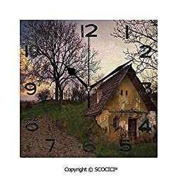 SCOCICI Frameless Clock 3D DIY Decorative Clock Battered Stone House in Field Messy Shed Building Provincial Pastoral Concept 8 Inch Large Size Square Wall Clock for Living Room Bedroom Office Hotel