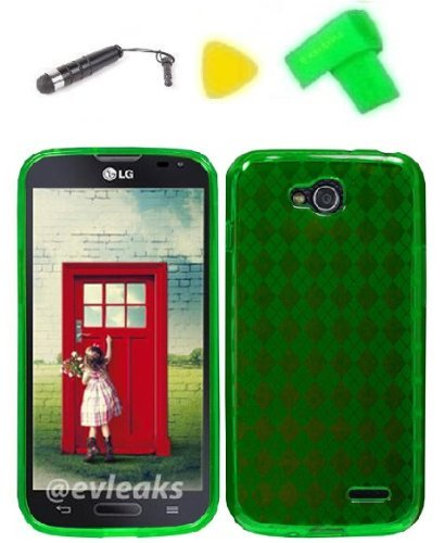 - TPU Gel Skin Phone Case Cover Cell Phone Accessory + Extreme Band + Stylus Pen + Yellow Pry Tool for LG Optimus L90 (TPU Green)