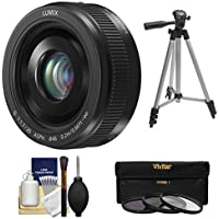 Panasonic Lumix G Vario 20mm f/1.7 II ASPH Lens (Black) with 3 Filters + Tripod + Kit for G6, G7, GF7, GH3, GH4, GM1, GM5, GX7, GX8 Cameras