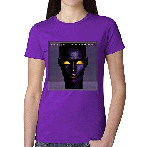 Grace Jones Bulletproof Heart Women T Shirts Purple (Codec Stand)