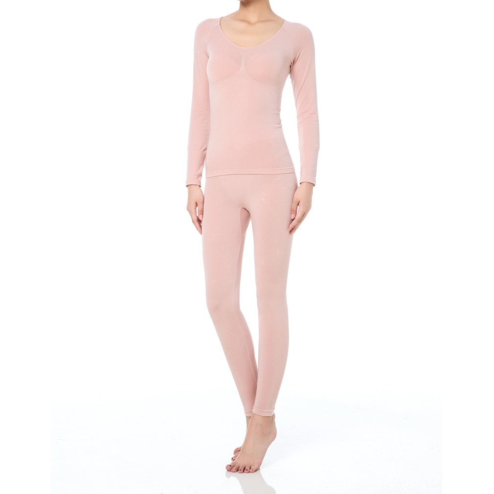 Fimage Women's Partial Terry Thermal Underwear Set of 5 Top & Bottom Long Johns