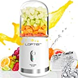Portable Blender, LOFTER Smoothie Juicer Cup - Six Blades in 3D, USB Rechargeable Personal Blender, Single Serve 300ML Fruit Mixer, Multifunctional Small Travel Blender for Shakes and Smoothies, with 4000 mAh Rechargeable Battery, Ice Tray, FDA BPA Free, White