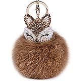 Automotive : Boseen Genuine Rabbit Fur Ball Pom Pom Keychain with A fashion Alloy Fox Head Studded with Synthetic Diamonds(Rhinestone) for Womens Bag Cellphone Car Charm Pendant Decoration(Brown)