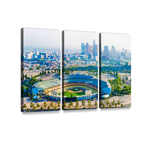 Los Angeles California Panoramic Skyline Cityscape Aerial Over Dodger Stadium Print On Canvas Wall Artwork Modern Photography Home Decor Unique Pattern Stretched and Framed 3 Piece ()