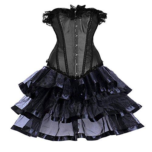 ZAMME Bailarín de Halloween de las mujeres DressOverbust corsé gótico más pechugón del vestido del corsé con la mini falda Negro