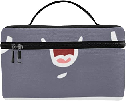 Nubes Emoji con expresión Facial Gran Capacidad Tamaño Dama Cosmética Bolsa de Maquillaje Organizador Estuche de Aseo para niñas Las Mujeres viajan con una Cremallera y una manija de una Sola Capa: