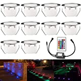 Color Changing Deck Lights Low Voltage IP67 Waterproof Recessed Outdoor Deck LED Step Lights for Patio Landscape Pathway Lighting Yard Decoration with Remote Control Pack of 10 (RGB)