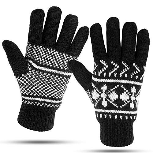 (Winter Gloves For Women: Womens Cold Weather Warm Snow Glove: Women's Knit Thinsulate Thermal Insulation Black)