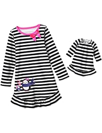 Girls Black White Stripe Penguin Nightgown Doll Night Gown Set