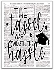 The Tassel Was Worth the Hassle, High School College Senior Class Graduation, Dictionary Print Wall Photo Art,