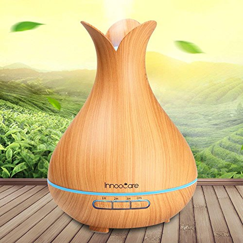 Innoo Tech Wood Grain Cool Mist Humidifier 300ml Essential Oil, Ultrasonic Petal Design Aroma Diffuser for Office Home Living Room Bedroom Yoga SPA