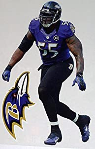 "Terrell Suggs Mini FATHEAD + Baltimore Ravens Logo Official NFL Vinyl Wall Graphics 7"" INCH"