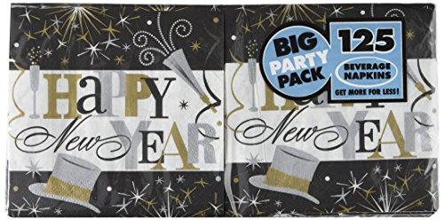 New Year Beverage Napkins (Amscan 125 Count Elegant New years Celebration Big Party Pack Beverage Napkins, Multicolor)