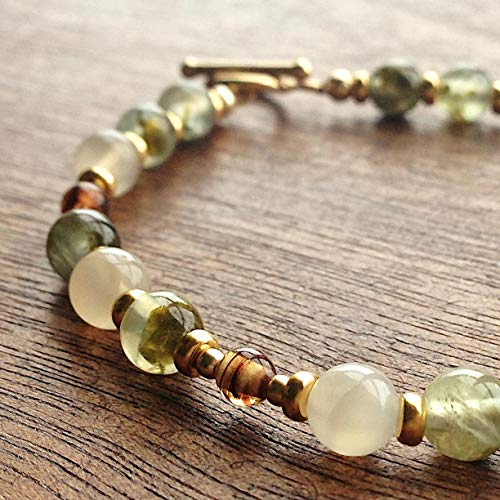 ENCHANTED WOODS Prehnite Moonstone Vintage Lampwork Glass Light Green Ivory White Mixed Gemstone Bead Bracelet 14K Gold-Filled Toggle Clasp