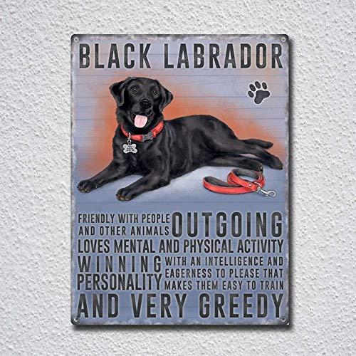 (Black Labrador Vintage Tin Sign Metal Sign TIN Sign 7.8X11.8 INCH)