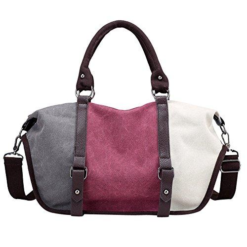 Price comparison product image GINELO Canvas Bags Women Crossbody Bag Fashion Split Joint Shoulder Bag Handbag Totes