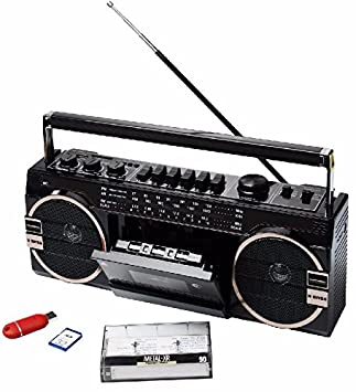 Cassette portatil puerto USB + SD Radio FM microfono antena grabadora altavoz 8W: Amazon.es: Electrónica